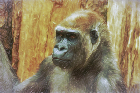 manually: Portrait of gorilla mail, painting in impressionistic style. Created manually using various digital techniques.
