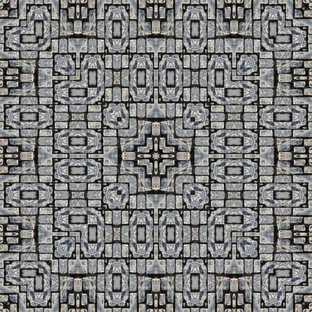 cobblestones: Kaleidoscope abstract background. Seamless pattern. Stone pavement or cobblestones.