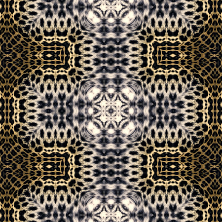 leopard fur: Kaleidoscope abstract background. Seamless pattern. Based on leopard fur.