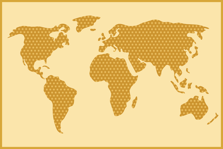 comb out: Simple and schematic world map out of honey comb Illustration