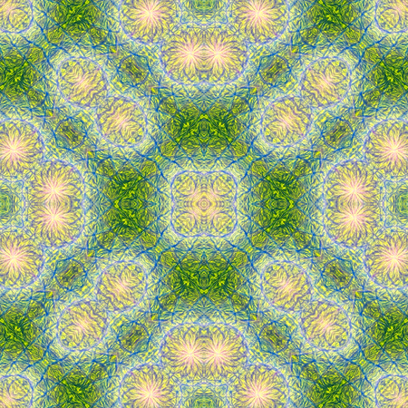 colored pencil: Seamless kaleidoscopic wallpaper tiles pattern drawn digitally with colored pencil