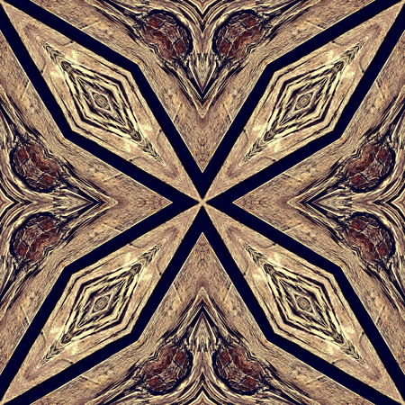 inlay: Seamless kaleidoscopic wallpaper tiles pattern based on natural wooden texture, inlay