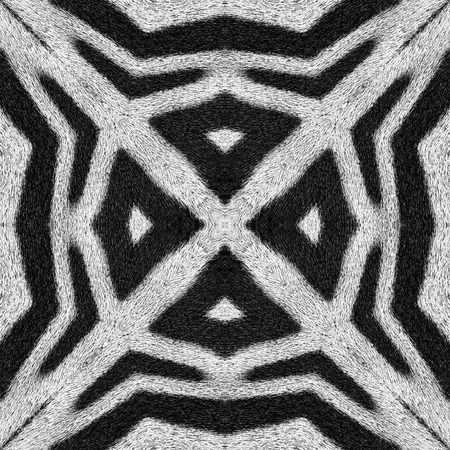 animal hair: Kaleidoscope abstract background of zebra stripes. Beautiful natural art pattern Stock Photo