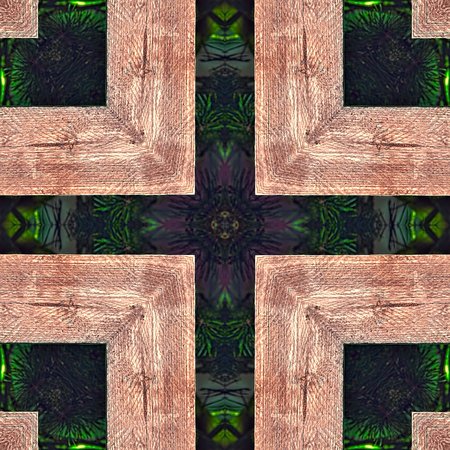 pales: Seamless background or texture. Interesting geometric shapes creating diverse visual impacts. For background, prints, wallpapers, cloth, carpets, rugs.  Based on wooden pales of fence. Stock Photo