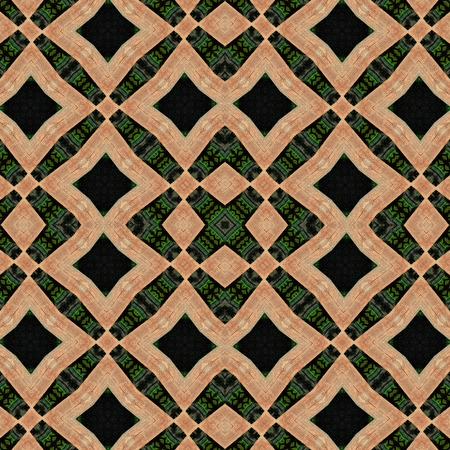 impacts: Seamless background or texture. Interesting geometric shapes creating diverse visual impacts. For background, prints, wallpapers, cloth, carpets, rugs.  Based on wooden pales of fence. Stock Photo