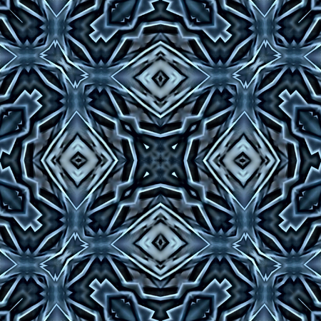 anything: Kaleidoscopic abstract background. Seamless pattern. Modern oriental ornament for carpet, shawl, cloth, wallpaper or anything. Based on feathers or plumage of a swan. Stock Photo