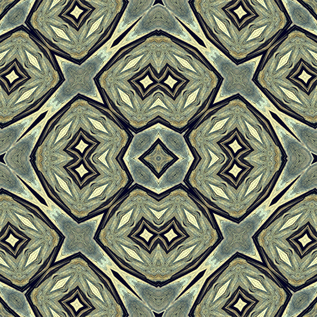 inlay: Kaleidoscope abstract background. Seamless pattern. Based on surface of old wooden beam. Fantasy shapes.