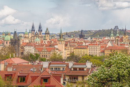 historical architecture: Prague Old Town panorama with historical architecture. Stock Photo