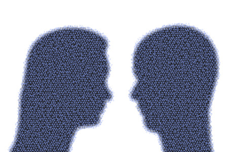 two heads: Two heads, silhouettes, woman and man, looking at each other, in modern low poly style.