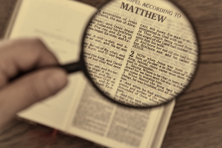 Christmas bible reading, gospel according to Matthew, when Jesus was born in Bethlehem. Vintage look.