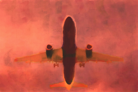 Hand drawn plane landing  watercolor illustration, red dramatic sky