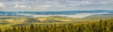 lipno: Summer landscape panorama with lake Lino, 200 km south of Prague, Czech Republic.