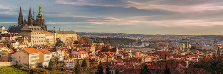 Prague panorama with Prague Castle, Prague river Vltava and many famous Prague sights and historic architecture.