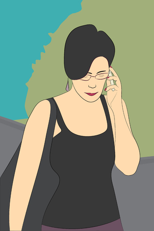 phoning: Vector portrait of phoning girl, woman, on the street