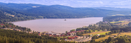 Panorama of Lake Lipno in south Bohemia, 200 km south of Prague, Czech Republic, Europe, aerial view. Stock Photo
