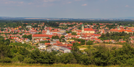 Wide panorama of Valtice, wine city in the South Moravia, Czech Republic, Europe, 250 km south of Prague.