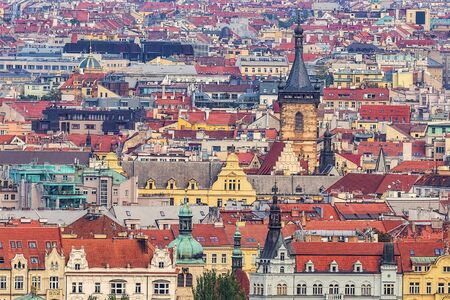 Prague cityscape, roofs and towers, architecture backgroung. Standard-Bild - 128376154
