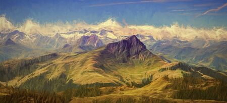 Panorama of Kitzbüheler horn, digital paiting. Standard-Bild