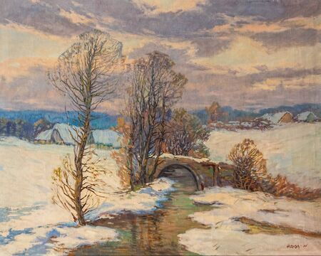 Old oil painting of rural winter landscape with traditional Czech village and a small brook by Czech painter Hlavsa from 1925 Standard-Bild