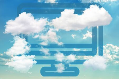 Blue computer icon on dramatic blue sky partly covered with clouds. Concept of cloud computing and other modern technologies.