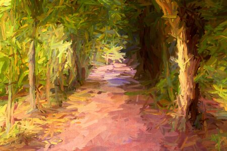 Abstract painting of long dark tree avenue in an old English landscape park in impressionistic style.