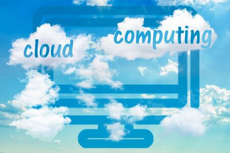 Digital illustration with concept of cloud solutions or cloud computing. Computer icon and realistic dramatic sky with clouds.