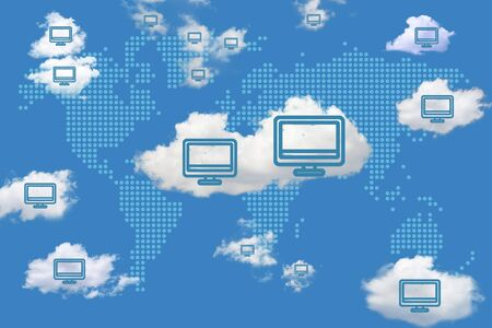 Digital illustration with concept of cloud solutions or cloud computing. Digitally generated world map with computer icons and realistic clouds.