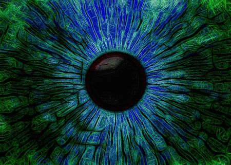 Eye, abstract digitally generated illustration for science, futuristic concepts, as backgrounds etc. Stock Photo