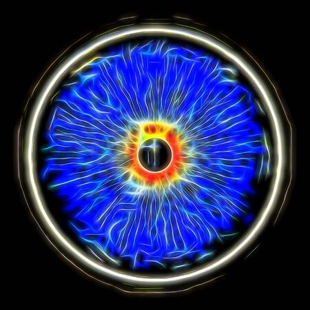 Eye, abstract digitally generated illustration for science, futuristic concepts, as backgrounds etc. Standard-Bild