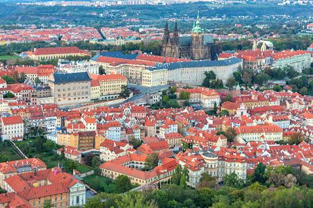 Prague with Prague Castle, aerial view