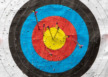 Detail of an archery target with 6 arrows inside the target and may holes. Concept of archery sport or achieving a targer.