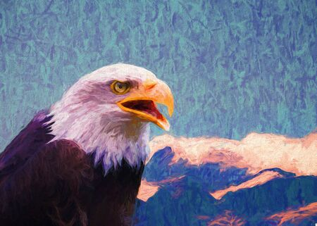 Portrait of Bald Eagle in high mountains, painting.