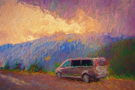 Trip to Austria Alps mountains with a car, painting artwork landscape