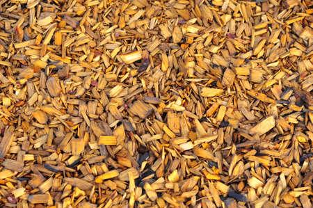 bark mulch: Closeup view of moist mulch pile shallow DOF