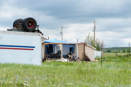 wreckage: Wreckage caused from a tornado in Larimer County including the cities of Berthoud and Longmont Colorado on June 4 2015.