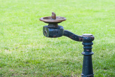 Closeup view of vintage water drinking fountain with green grass background shallow DOF photo