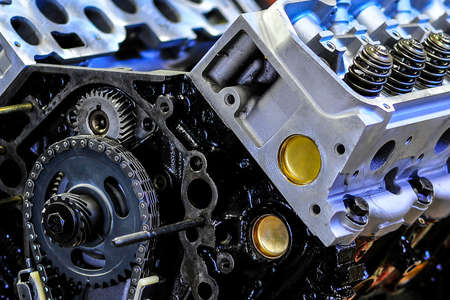 automobile industry: Macro view of new, rebuilt truck engine, shallow DOF Stock Photo