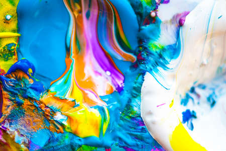 swirl patterns: Macro view of vibrant paint palette, shallow DOF Stock Photo