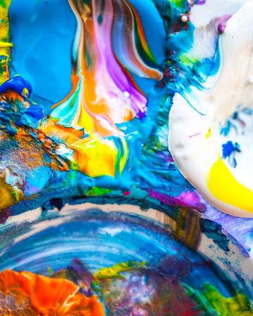 shallow: Macro view of vibrant paint palette, shallow DOF Stock Photo