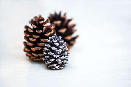 pine three: Macro view of three pine cones on rustic wooden surface, shallow DOF Stock Photo