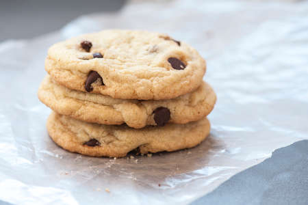 chocolaty: Macro view of a stack of chocolate chip cookies, shallow DOF