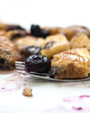 silver maple: Close-up view of delicious blueberry pancakes on a fork
