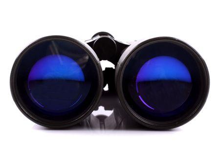 discreto: binoculares con lentes azules  Foto de archivo