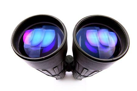 discreto: binoculares con enormes lentes de color azul