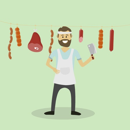 seller: Vector butcher. Meat seller Illustration