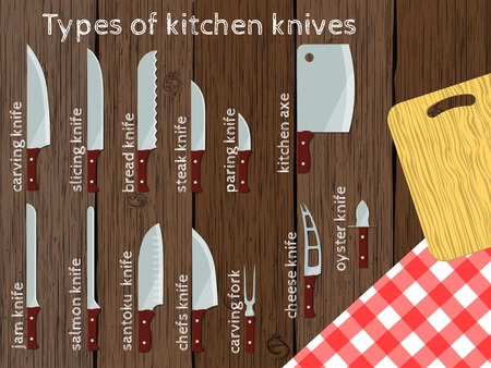 Types of kitchen knives, vector illustration, infographic