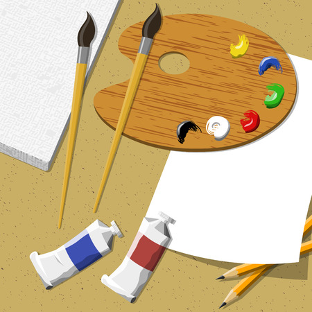 Artist workspace canvas, oil, brushes and pallete on wooden table. illustration. Illustration