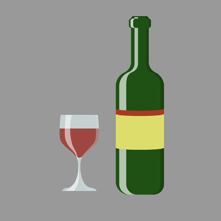 uncork: Set of wine bottle and glass illustration