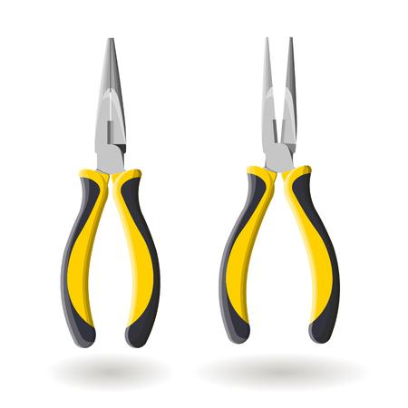 alicates: Conjunto de dos alicates de punta larga de color amarillo, se abren y cierran, aisladas sobre fondo blanco Vectores