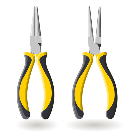Set of two yellow round pliers, open and close, isolated on white background Illustration